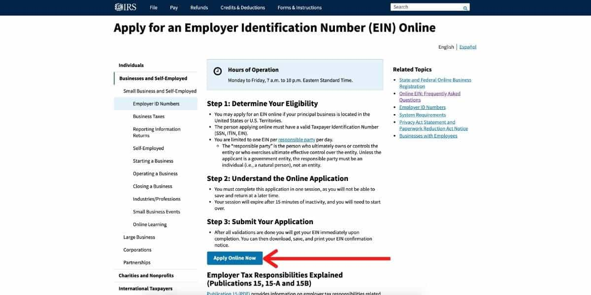 Screenshot of the IRS website with an arrow pointing at the EIN application button.