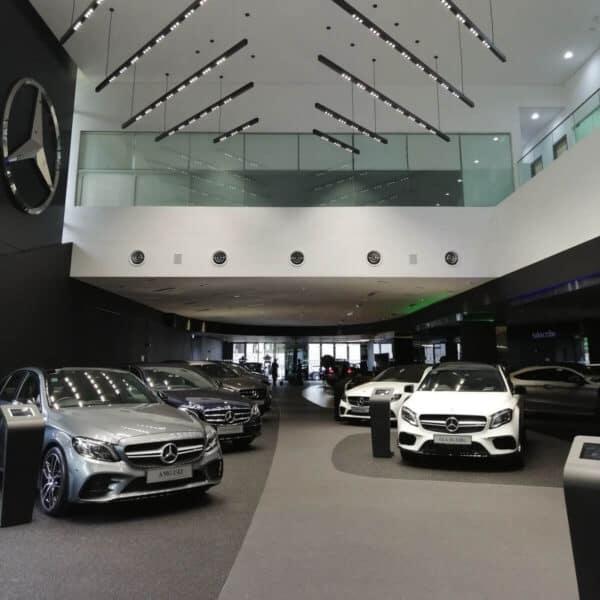 Inside a Mercedes-Benz car dealership.