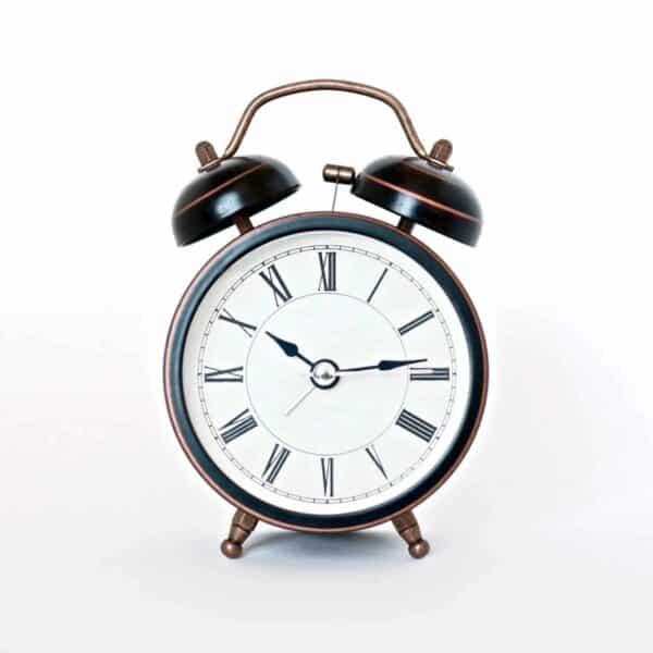 Alarm clock with Roman numerals.