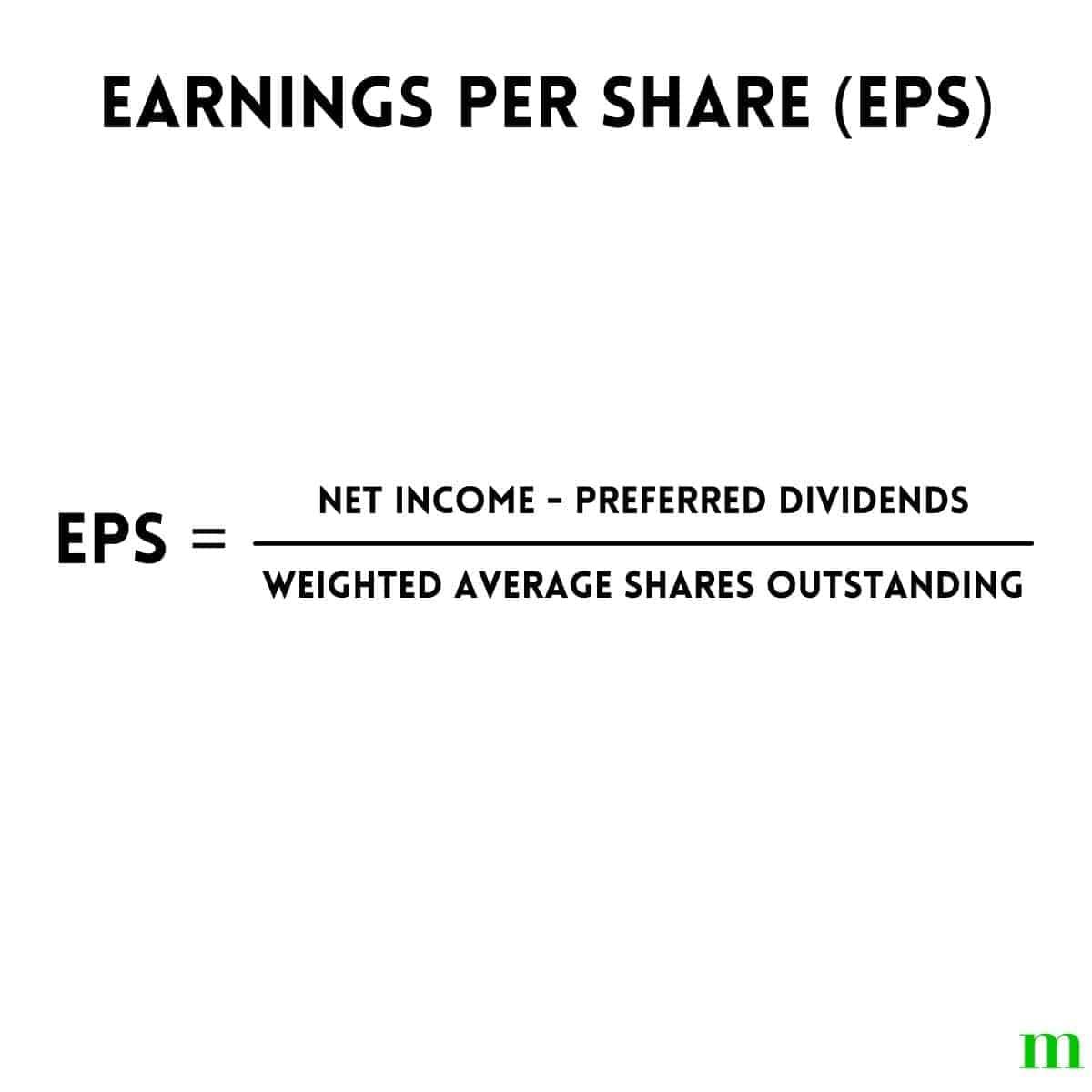 Earnings per share formula.