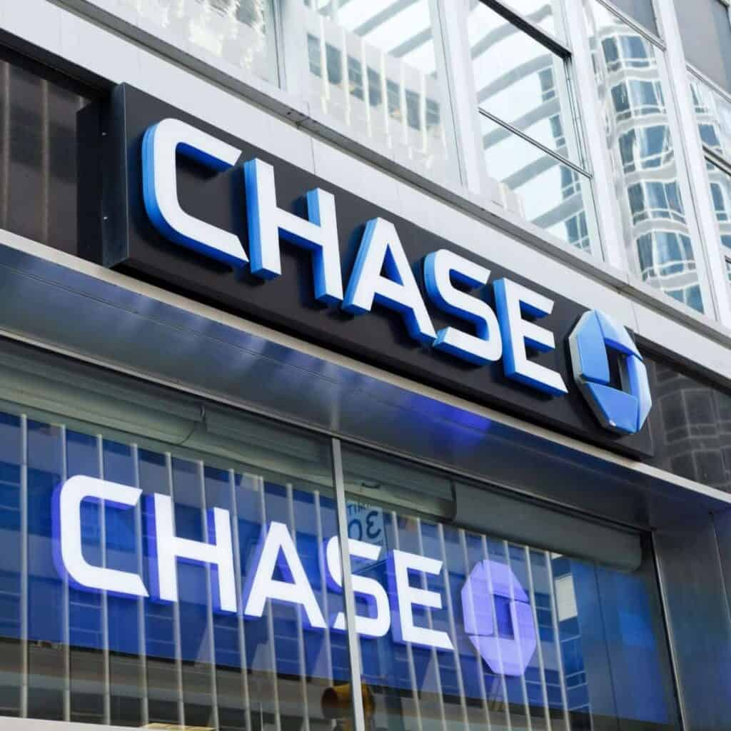 Chase bank logo on a building.