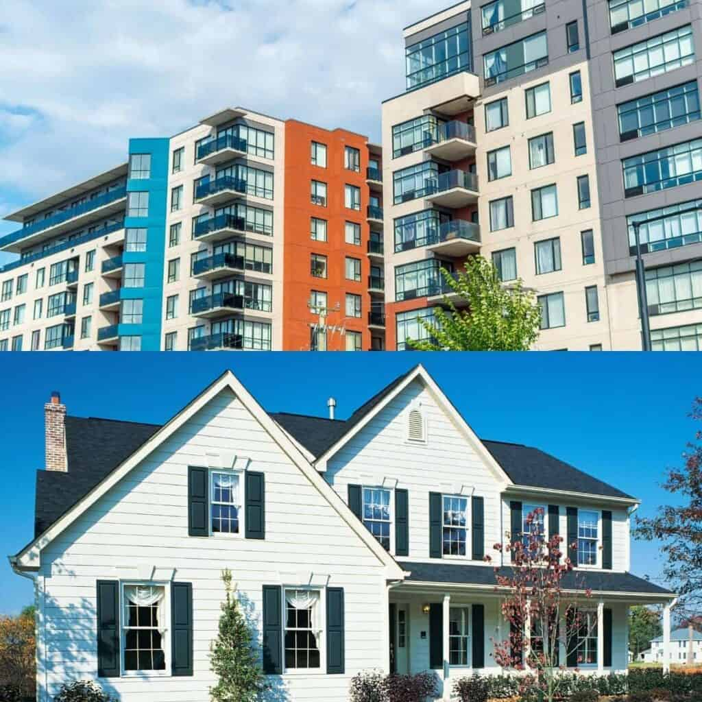 Split-image of condos and a house.