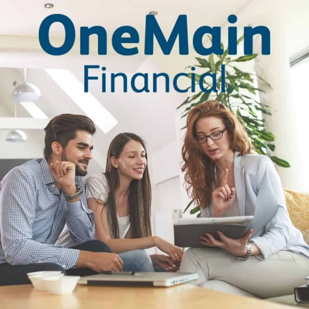 People meeting with OneMain Financial logo overlay.